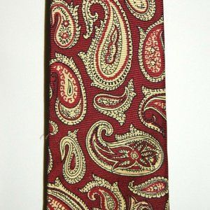 Barneys New York Red Gold Paisley Pattern Tie